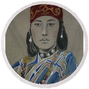 Ainu Woman -- Portrait Of Ethnic Asian Woman Round Beach Towel