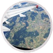 Air Berlin Over Switzerland Round Beach Towel