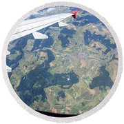Air Berlin Over Switzerland Round Beach Towel