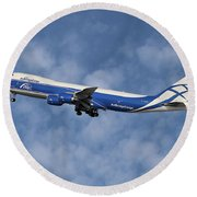 Air Bridge Cargo Airlines Boeing 747-83q Round Beach Towel