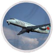 Air Canada Express Bombardier Crj-200er Round Beach Towel