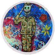 Air Force Day Of The Dead Round Beach Towel