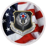 Air Force Special Operations Command -  A F S O C  Shield Over American Flag Round Beach Towel by Serge Averbukh