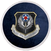 Air Force Special Operations Command -  A F S O C  Shield Over Blue Velvet Round Beach Towel by Serge Averbukh