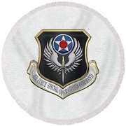 Air Force Special Operations Command -  A F S O C  Shield Over White Leather Round Beach Towel by Serge Averbukh