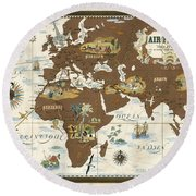 Air France - Historical Illustrated Map Of The World - Lucien Boucher - Cartography Round Beach Towel