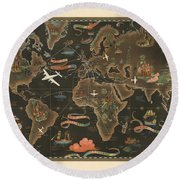 Air France - Historical Illustrated Map Of The World - Pictorial Map - Cartography Round Beach Towel