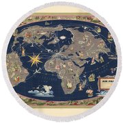 Air France - Illustrated Map Of The Air Routes By Lucien Boucher - Historical Map Of The World Round Beach Towel