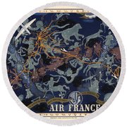 Air France - Illustrated Poster Of The Constellations - Blue - Celestial Map - Celestial Atlas Round Beach Towel