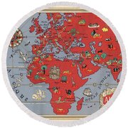 Air France - Vintage Illustrated Map Of The World By Lucien Boucher - Cartography Round Beach Towel