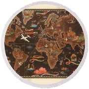 Air France - Vintage Illustrated Map Of The World - Lucien Boucher - Cartography Round Beach Towel