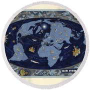 Air France - Vintage Illustrated World Map - Lucien Boucher - Air Routes Round Beach Towel