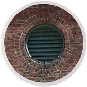 Air Vent In Brick Wall Round Beach Towel