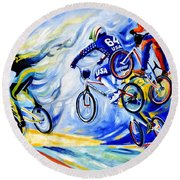Round Beach Towel featuring the painting Airborne by Hanne Lore Koehler