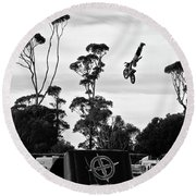 Airborne Motorcycle Performance Round Beach Towel by Yurix Sardinelly