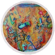 Digital Landscape, Airbrush 1 Round Beach Towel