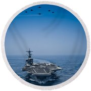 Round Beach Towel featuring the photograph Aircraft From Carrier Air Wing by Celestial Images