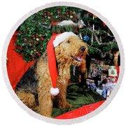 Airedale Terrier Dressed As Santa-claus Round Beach Towel