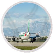 Airplane And Mountains Round Beach Towel