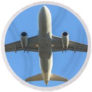 Airplane Isolated In The Sky Round Beach Towel