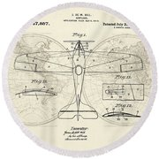 Airplane Patent Collage Round Beach Towel by Delphimages Photo Creations