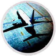 Airplane Tactics Round Beach Towel by Sadie Reneau