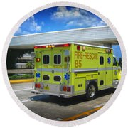 Airport Ambulance Round Beach Towel