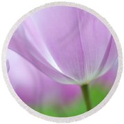 Airy Purple. Tulips Of Keukenhof Round Beach Towel by Jenny Rainbow
