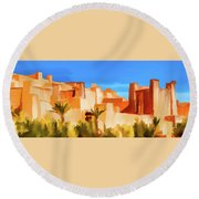 Ait Benhaddou Morocco Round Beach Towel by Wally Hampton