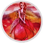 Round Beach Towel featuring the painting Aithne by Mo T