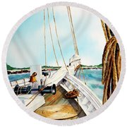 A.j. Meerwald-coming Home Round Beach Towel