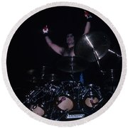 A.j. Pero Of Twisted Sister Round Beach Towel