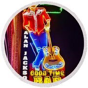 Aj's Good Time Bar Round Beach Towel