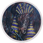 Round Beach Towel featuring the painting Akhenaten Has Risen by Reed Novotny