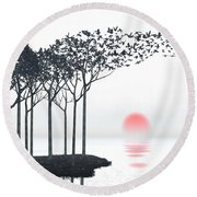 Aki Round Beach Towel