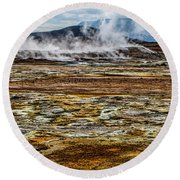 Akureyri, Iceland Round Beach Towel by Shirley Mangini