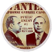 Al Capone Most Wanted Poster Round Beach Towel