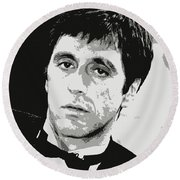 Al Pacino Graphic Design Round Beach Towel