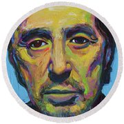 Round Beach Towel featuring the painting Al Pacino by Robert Phelps