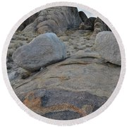 Alabama Hills Boulders At Dusk Round Beach Towel