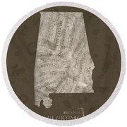 Alabama Map Music Notes 2 Round Beach Towel