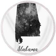 Alabama State Map Art - Grunge Silhouette Round Beach Towel
