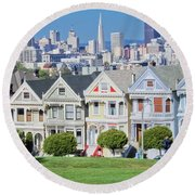 Round Beach Towel featuring the photograph Alamo Square by Matthew Bamberg