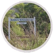 Alamos Schoolhouse Round Beach Towel by Suzanne Oesterling