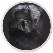 Round Beach Towel featuring the drawing Alan Rickman by Julia Art