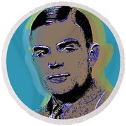 Round Beach Towel featuring the digital art Alan Turing by Jean luc Comperat