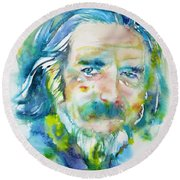 Round Beach Towel featuring the painting Alan Watts - Watercolor Portrait.4 by Fabrizio Cassetta