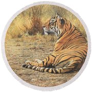 Round Beach Towel featuring the photograph Alarm Call by Alan M Hunt