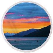 Alaska Fishermans Sunset Round Beach Towel