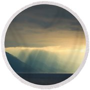Alaska Inside Passage Under The Clouds Round Beach Towel